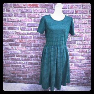 LulaRoe Amelia Dress Green with Print